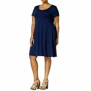 Style & Co Womens 3X J4-03 Dark Blue Swing dress